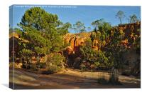 Red Cliffs and Trees , Canvas Print