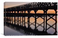 Bridge silhouette at dusk in Quinta do Lago, Canvas Print