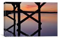Wooden Bridge Silhouette at Dusk, Canvas Print