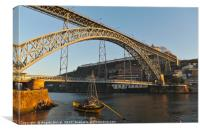 View of Porto bridge from the riverside, Canvas Print