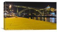 Porto Riverside at Night, Canvas Print