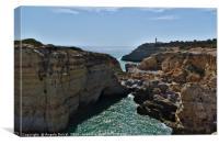 Carvoeiro lighthouse and cliffs, Canvas Print