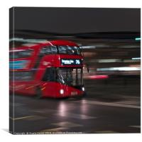 Red Bus on the streets of London, Canvas Print