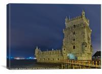 Torre de Belem view at night in Lisbon, Canvas Print