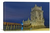 Torre de Belem at night in Lisbon, Canvas Print