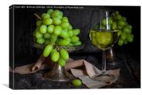 Vintage green grapes, Canvas Print