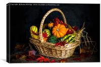 Autumn vegetables in a basket, Canvas Print