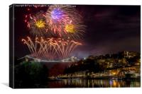Clifton Suspension Bridge Fireworks, Canvas Print