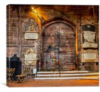 Chester Cathedral Ancient doorway , Canvas Print