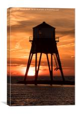 Dovercourt Leading Light in Silhouette., Canvas Print