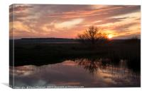 Hilbre Island Sunset Silhouette Reflection , Canvas Print