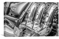 Triumph Rocket III motorbike in black and white, Canvas Print