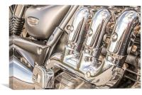 Triumph Rocket III motorbike in colour, Canvas Print