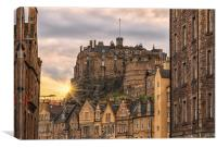 Edinburgh Castle Sunset from Candlemaker Row, Canvas Print