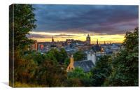 The Edinburgh Skyline from Calton Hill, Canvas Print