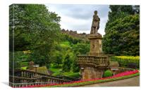 The Castle from Princes Street Gardens, Canvas Print