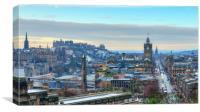 Panoramic View of Edinburgh from Calton , Canvas Print