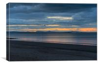 Last light over Portobello beach, Edinburgh, Canvas Print
