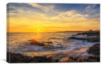 Elie beach at sunset, Canvas Print
