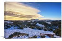 Snow over Scott's View, Melrose, Canvas Print