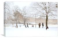 Royal Crescent Fun in the Snow, Canvas Print