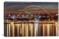 River Tyne Bridges at Night, Canvas Print