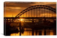 Sun Setting at Newcastle, Canvas Print