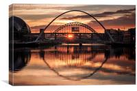 Sunset over the River Tyne, Canvas Print