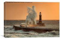 Big Wave at Roker Lighthouse, Canvas Print