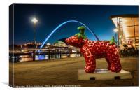 Strawberry Snow dog at Newcastle, Canvas Print