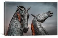 The Kelpies Lit up by Sunset , Canvas Print