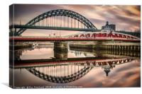 Tyne and Swing Bridges Reflected, Canvas Print