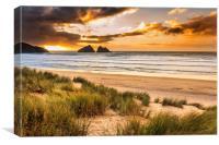 Holywell Bay Sunset, Canvas Print