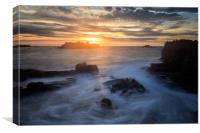 Sunset at Cobo Bay , Canvas Print