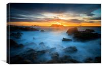 Sunset at cobo bay Guernsey , Canvas Print