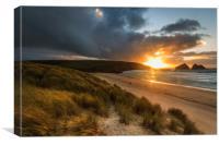 Holywell Bay Sunset    , Canvas Print