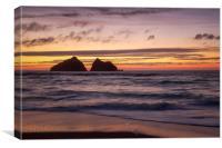 sunset at holywell bay, newquay UK , Canvas Print