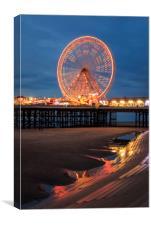 Blackpool at night , Canvas Print