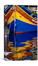"Traditional Fishing Boat, "" Luzzuis "" Malta., Canvas Print"