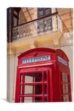Red telephone box, Malta, Canvas Print