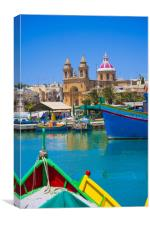 Marsalokk Harbour and  Parish Church.Malta, Canvas Print