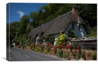 Thathched Cottage,Wherwell,Hampshire ,England. , Canvas Print