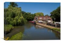Riverside Pub & Canal Narrow Boat .Pyrford Lock Su, Canvas Print