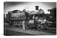 Driver oiling the piston rods of'5101' class 2-6-, Canvas Print