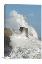 Porthcawl, South Wales, UK, during Hurricane Ophel, Canvas Print