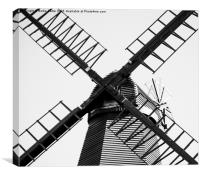 Black and White Windmill, Canvas Print