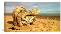 Old Tree Stump on Alnmouth Beach 2015, Canvas Print