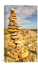 Rock Piles on the Beach on Lindisfarne 1, Canvas Print