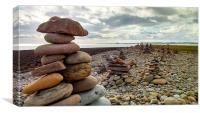 Rock Piles on the Beach on Lindisfarne 2, Canvas Print
