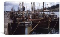 Brixham Harbour with Boats Docked 1960s, Canvas Print